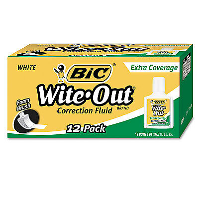 Bic Wite-Out Extra Coverage Correction Fluid 20 ml Bottle White 1/Dozen