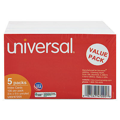 Universal Unruled Index Cards 3 x 5 White 500/Pack 47205