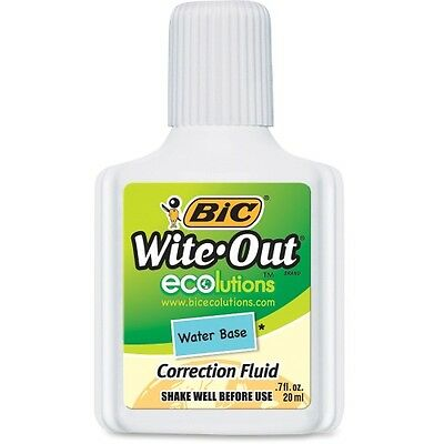 Bic Wite-Out Water-Based Correction Fluid 20 ml Bottle White WOFWB12WE