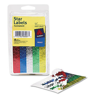 """Avery Colored Foil Stars 1/2"""" dia Assorted Colors 440/Pack 06007"""