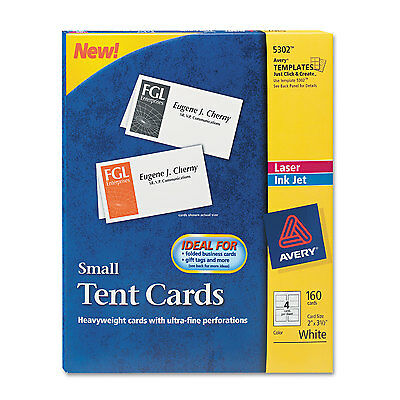 Avery Small Tent Card White 2 x 3 1/2 4 Cards/Sheet 160/Box 5302