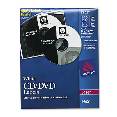 Avery Laser CD Labels Matte White 40/Pack 5692