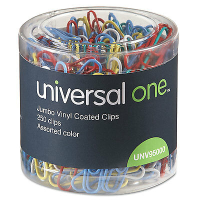 UNIVERSAL Vinyl-Coated Wire Paper Clips Jumbo Assorted Colors 250/Pack 95000