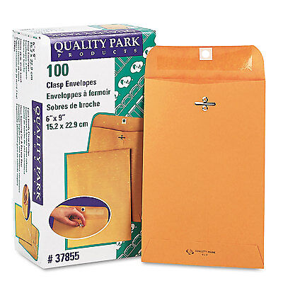 Quality Park Clasp Envelope #55 6 x 9 28lb Brown Kraft 100/Box 37855