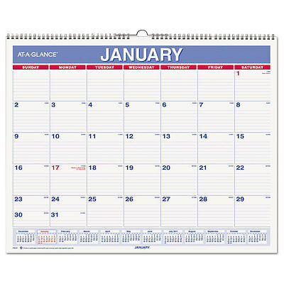 At-A-Glance Monthly Wall Calendar 15 x 12 Red/Blue 2017 PM828