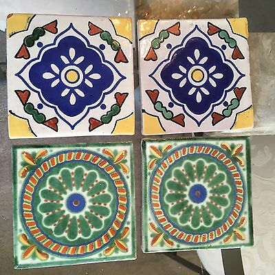 "4 VINTAGE MEXICAN TILES HAND PAINTED 4"" x 4"" MADE IN MEXICO"