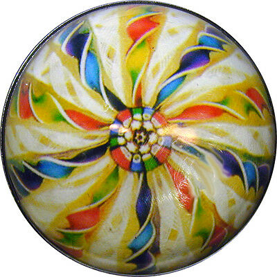 Crystal Dome Button Detailed Paperweight Image Twisted Cane VPW16 - FREE US SHIP