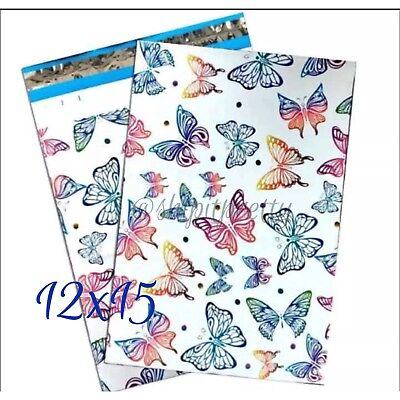 "20 Beautiful Rainbow Butterflies 12""x 15"" easy Gift Wrapping Poly Mailer Bag"