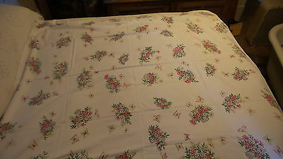 """Vintage Cotton TABLECLOTH Baskets of Pink Flowers & Butterflies, 52"""" x58"""""""