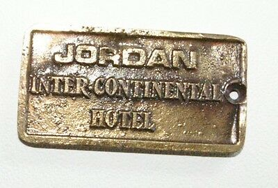 Vintage Metal Hotel Room Key JORDAN Inter-Continental Hotel Arabic Writing