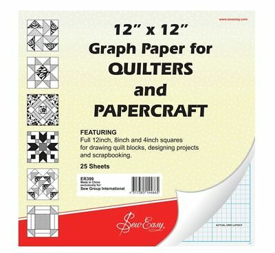 Sew Easy Quilters Graph Paper Pad 12X12 Inch For Quilting Patchwork Paper Crafts