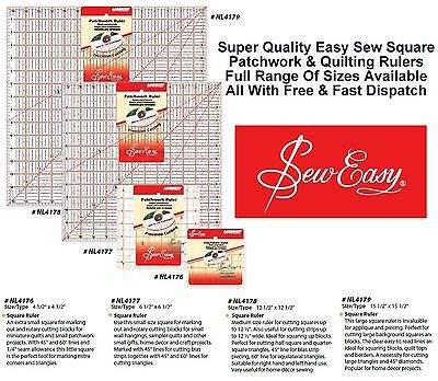 Sew Easy Square Quilters Ruler Measure Patchwork Craft Home All Sizes & Styles