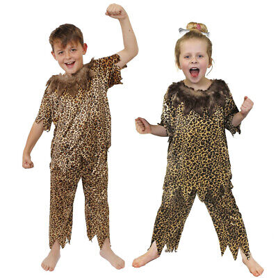 Child's Caveman Costume  Animal Print Prehistoric Boys Girls Unisex Fancy Dress
