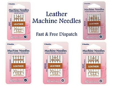 Hemline Klasse Leather Sewing Machine Needles Medium Heavy Assorted mm All Sizes