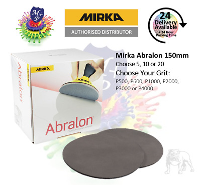 "MIRKA ABRALON 6"" 150mm (packs of 10 or 20) P500 to P4000"