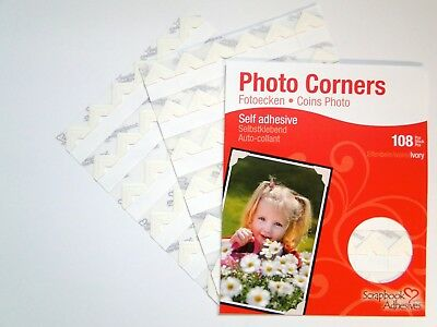 Cream / Ivory Colour Photo Corners Sticky Self Adhesive Acid Free 108 Pieces