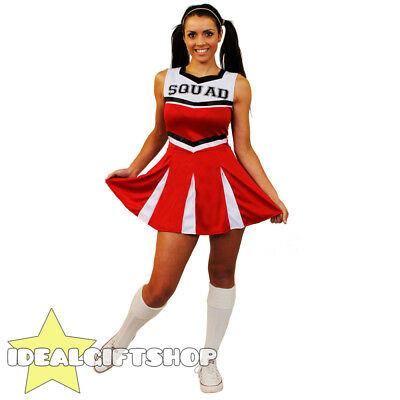 Ladies High School Red Cheerleader Dress Fancy Dress Costume Uniform Outfit