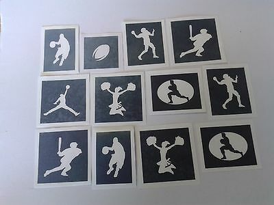 10 - 400 American sport stencils (mixed) for etching glass  baseball  basketball