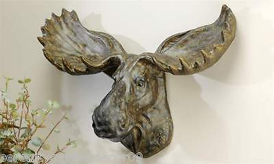 """22"""" Moose Head Wall Decor - Painted Polyresin Weathered Brown Finish  NEW"""