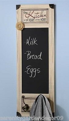 """31.5"""" Kitchen Chalkboard with 2 Metal Wall Hook Wall Decor with Sentiment NEW"""