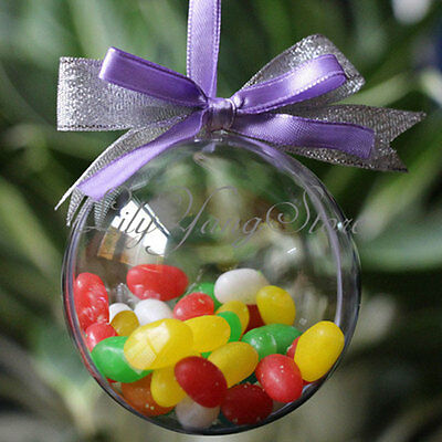 8cm Clear Christmas Decorations Hanging Ball Baubles Round Bauble Xmas Tree