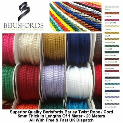 Berisfords Barley Twist Rope Braid Strong Washable Cord 16 Colours 5mm By Meter