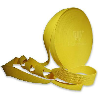 Yellow 25mm Width Cotton Webbing Tape Belting Fabric Strap Bag Making Strapping