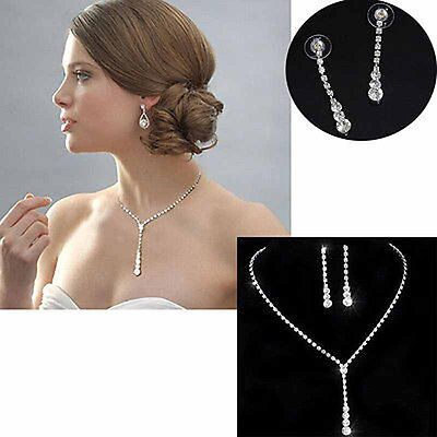 Party Wedding Bridal Crystal Rhinestone Necklace Earrings Elegant Jewelry Set