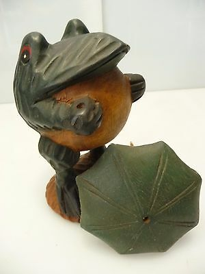 Wooden Carved Frog Holding Umbrella Figurine Hand Crafted Wood Carving