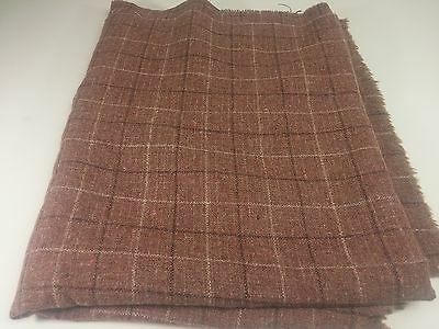 "Vintage Pure Wool Light Brown Plaid Upholstery Fabric 60"" x 70"", 28 oz"