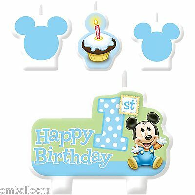 Baby Mickey Mouse 1St Birthday Candle Set Of 4 Birthday Cake Decoration Favors