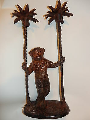 Vtg Iron Candle Holder Ape Chimpanzee Chimp Tropical Statue Figurine Decor