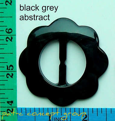 Bright Black Grey Abstract Plastic Flower Fabric Ribbon Belt Buckle Diy Sewing