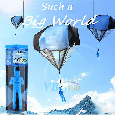Mini Parachute Soldier Sky Flying Children Kids Toy Outdoor Sport Game Gift Blue