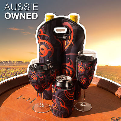 Neoprene Cooler Set - Wine, Champagne, Can and Bottle Cooler | Orange Design