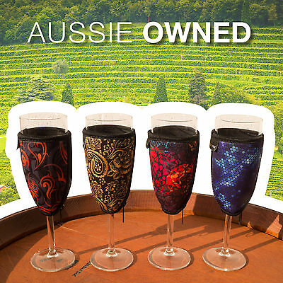 4 x CHAMPAGNE GLASS COOLERS - Quality Neoprene | 4 Different Designs