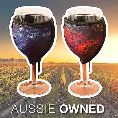 WINE GLASS COOLER PAIR - Quality Neoprene   Floral and Blue Designs
