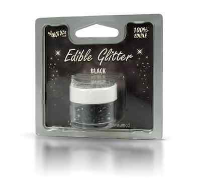Black - 100% Edible Glitter - Rainbow Dust - Cake Decorating