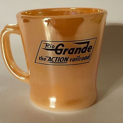 Fire King Rio Grande Railroad Advertising Peach Luster Coffee Cup Vintage