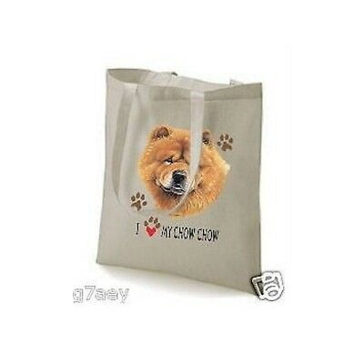I Love My Chow Chow Design Printed Tote Shopping Bag