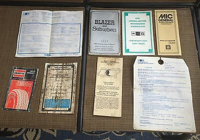 1986 Chevrolet Blazer and Suburban Owners Manual and Misc Paperwork