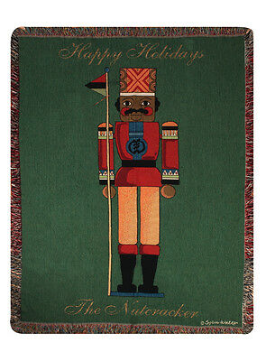 African American Nutcracker ~ Happy Holidays ~ Christmas Tapestry Afghan Throw