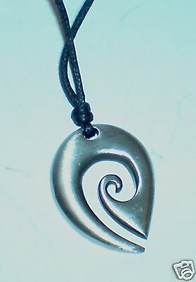 MAORI WIND PEWTER METAL PENDANT ON BLACK CORD NECKLACE In Gift Packet