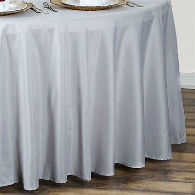 "10 SILVER 90"" ROUND POLYESTER TABLECLOTHS Wholesale Wedding Decorations SALE"