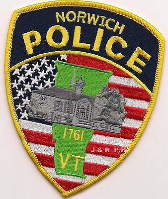 "*NEW*  Norwich - 1761, VT (3.5"" x 4.5"") shoulder police patch (fire)"