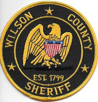 "*NEW*  Wilson County Sheriff, TN (4"" round) shoulder police patch (fire)"