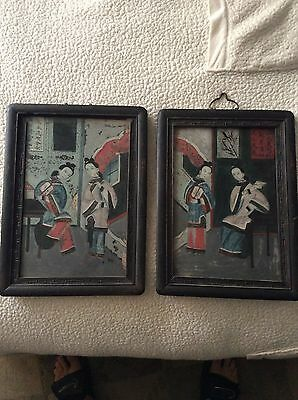 "(2) Asian ""Reverse Glass Painted"" Wall Art - Vintage Antique"