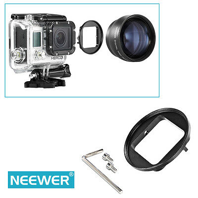 Neewer Black Anodized Aluminium 58MM Filter Adapter Ring for GoPro Hero 3