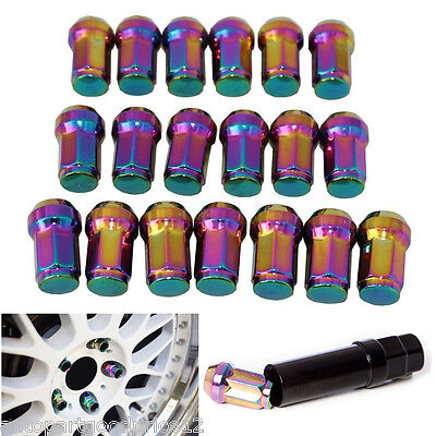 20x Neo Chrome Racing Car Wheel Extended Tuner M12xP1.5 Lug Nuts For Hyundai Kia