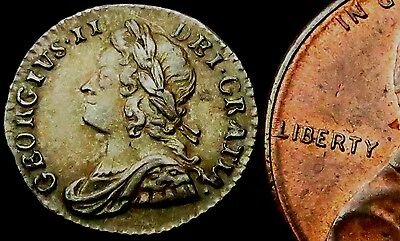 R748: 1752 George II Silver Penny - High Grade and Beautifully Toned